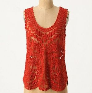 Anthropologie  Yoana Barasch red lace top